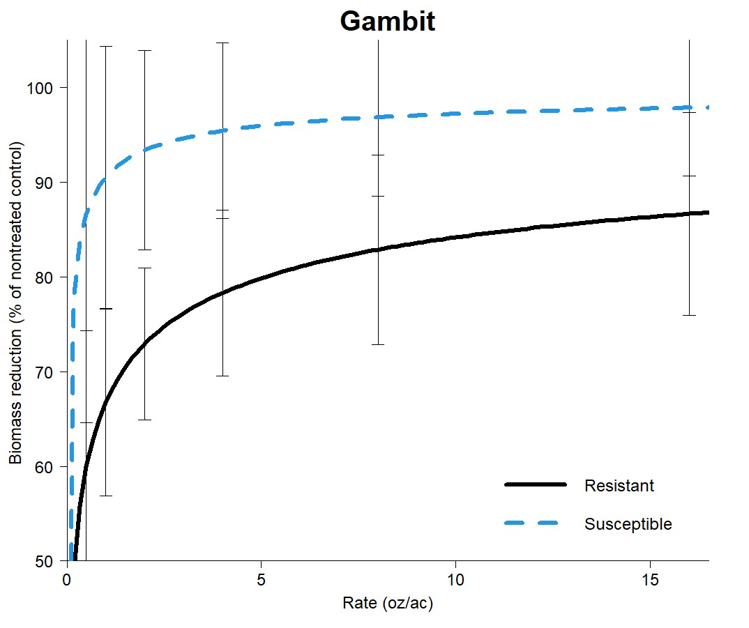 Dose response curves for Gambit on smartweed